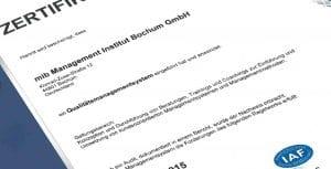 DQS Zertifikat mib Ausschnitt